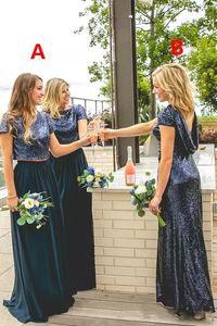 Sparkly Navy Blue Sequins Vestidos de dama de honor de dos piezas con mangas 2018 Estilo de país Personalizado Hacer una fiesta de bodas Invitado Junior Dress Barato