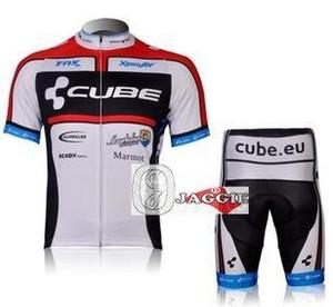 Spedizione gratuita + PAD Coolmax + poliestere + 2012 bianco manica corta CUBE Maglie ciclismo e pantaloni Set / Abbigliamento da ciclismo / Abbigliamento da ciclismo