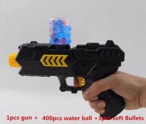 400pcs + arma bola de agua Orbeez bolas de bala suave pistola de paintball pistola suave CS Crystal pistola de agua Aire Airgun bolas de gel de perlas niños pintar embolamiento