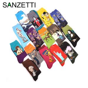 Pintura SANZETTI al por mayor 5 pares / porción peinados de algodón colorido Gogh Aceite retro de los hombres calcetines calcetines fresco ocasional de la tripulación del vestido de partido divertidos