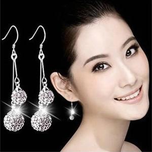 Silver Shamballa Drop Earrings Jewelry Austrian Crystal Dangle Earrings for Party Gift 6mm + 8mm Fashion Jewellery Wholesale - 0007WH