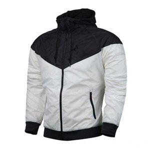 Tops manga de los hombres del otoño chaqueta del diseñador de los deportes Coat Marca sudadera con capucha con cremallera larga rompevientos Ropa para Hombres Sudaderas