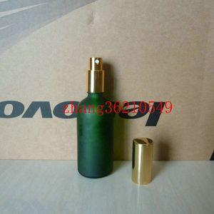 Botella de perfume de vidrio esmerilado verde de 100 ml con pulverizador de niebla de oro brillante de aluminio. envase de la botella del atomizador del perfume