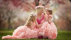 Lovely Pink Beads Flower Girls Dresses Sleeveless Ruffle Organza Cheap Little Girls Dress Custom Made Floor Length Party Dress