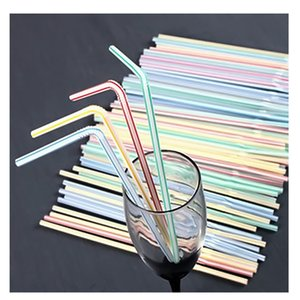 1000pcs Folding Disposable Milkshake Straws Smoothie Clear Plastic Drinking Straw Wedding Kid Party Favors