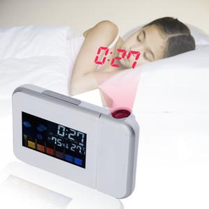 Relógio de mesa Relógio Despertador Digital com Projeção Tela Colorida Relógio de Projeção Multi-função Tempo Calendário Relógio Relógio