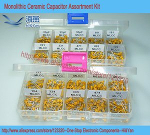 Wholesale-1000pcs lot Leaded Multilayer Monolithic Ceramic Capacitor 20pF~1uF Assortment Kit, 20 Values Each 50pcs 030219