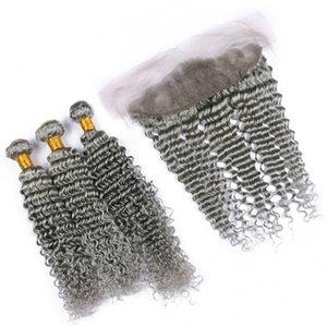 8A Grade Malaysian Grey Virgin Hair Bundles con Lace Frontal Closure Deep Wave Rizado gris cabello humano teje con encaje frontal