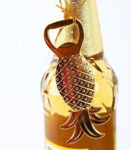 Envío Gratis 100 unids / lote Oro Tropical Abridor de Botellas de Piña Playa Nupcial Favores de La Boda Regalos de Recuerdo Fuentes Del Partido Del Acontecimiento