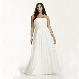 2019 nuevo tamaño más gasa imperio vestidos de cintura con apliques rebordear detalle vestidos de novia rebordear Sash vestido de novia 421