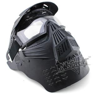 Máscara WoSporT Airsoft táctico Transformers última lente de la cara llena con GogglesNeck proteger caza al aire libre de accesorios 3 colores