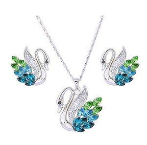 plus couleur cristal swan mariage mariée collier boucles d'oreilles mis woniu152) dvd
