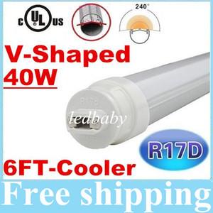 Refrigerador de 40 vatios en forma de V Led tubo que gira R17D T8 tubo de luz LED SMD 2835 doble filas frío / calor blanco CA 110-277V