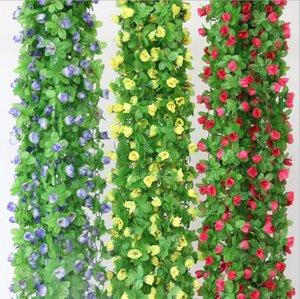 2.2 m flores de rosas artificiais Wisteria Flor de Videira Flor de rotim Flor De Seda para decoração de canais de ar condicionado Garland e ornamento doméstico HH04