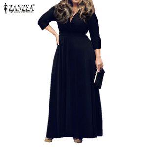 L-6XL Новый 2015 Zanzea Мода Элегантные Женщины Платье Весна Осень 3/4 Рукава Sexy V-образным Вырезом Большой Подол Макси Длинные Платья Партии Vestidos FG1511