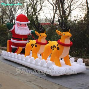6m عرض عيد الميلاد نفخ سانتا كلوز القيادة نفخ الزلاجة الرنة