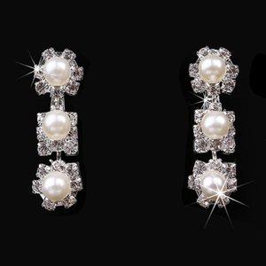 Victorian 2021 Crown Ridal Pearls Jewelring Pendientes Rhinestone Crystal Crown Collar Claro Sist Bridal Barato Tiara Pieces Boda Tres ABFO