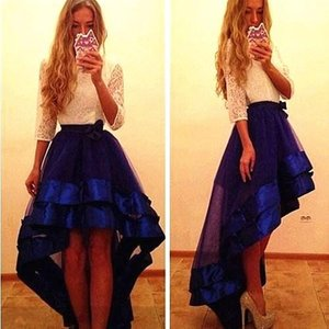 2017 Royal Blue Lace Organza Prom Evening Dresses O Neck High Low A Line Homecoming Graduation Dresses with 3 4 Long Sleeves Party Gowns