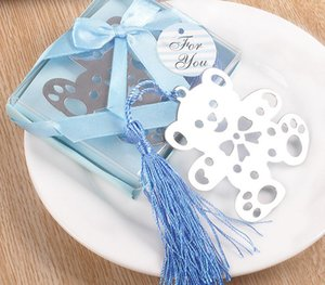 20 unids plata acero inoxidable azul borla oso señal para boda Baby Shower Party cumpleaños Favor regalo regalos recuerdos recuerdo