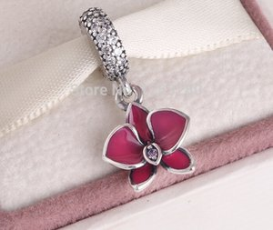 pandora summer charms Silver Orchid Dangle Charm 925 ale sterling silver charms loose beads diy jewelry for thread bracelet FL232