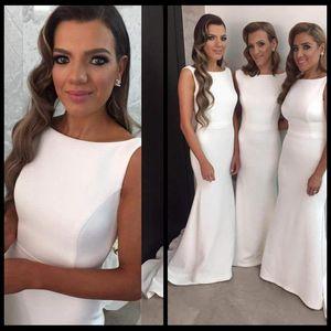 Simple Scoop шеи длинные платья подружки невесты белые сатинские спинки дешевые русалки платья подружки невесты для свадьбы с промежуточным поездом