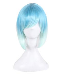 Mujeres Cosplay Peluca Corta Animación Bob Pelucas de pelo Side Bang Ombre Azul Blanco Colorido Sintético Peluca Resistente Al Calor