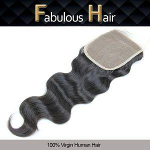 """Billig-Spitze-Verschluss-Virgin Brasilianische Körperwelle 5x5 """"Human Hair Freies Teil Top-Spitzenverschlussstücke mit gebleichten Knoten 8-20inch Haarverschlüsse"""
