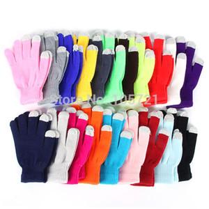 Toptan Satış - Toptan-Şeker Renk Mens Womens Dokunmatik Ekran Eldiven Tam Parmak Katı Kış Eldivenler
