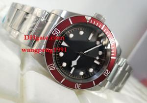 Erkekler yüksek kalite İzle 42mm 25600 TB siyah Kadran Kırmızı çerçeve Asya 2813 Paslanmaz Çelik bilezik Otomatik Mens Watch saatler