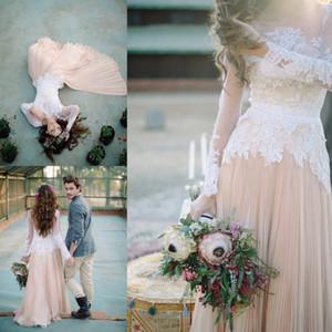 2019 Lace Appliques Beach Wedding Dresses Summer Beach Long Sleeve Chiffon Vintage Boho Bridal Gowns Custom Made Plus Size