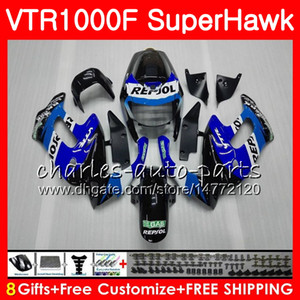 Body For HONDA Repsol blue VTR1000F SuperHawk 97 98 99 00 01 02 03 04 05 91NO24 VTR 1000F 1997 1998 1999 2000 2002 2003 2004 2005 Fairing