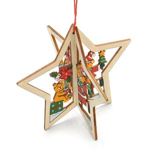 Christmas ornaments, carved wooden Christmas tree, window pendant, five-pointed star three-dimensional hanging jewelry