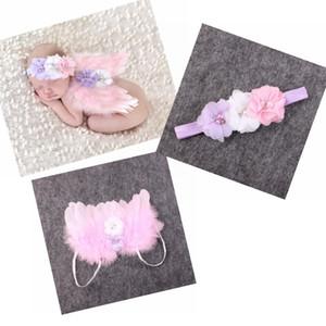 Bébé aile d'ange + serre-tête en mousseline de soie de fleurs Photographie Props Set nouveau-né Jolis Ange Fée des plumes roses Wing Costume photo Prop YM6101