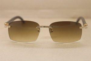 Солнцезащитные очки Модель Big Classical 8200759 Black Buffalo Horn Оптовая Коричневый Алмаз Натуральный в настоящих Золотых Очки RIMLENT Размер: 60-18-14 VAMC