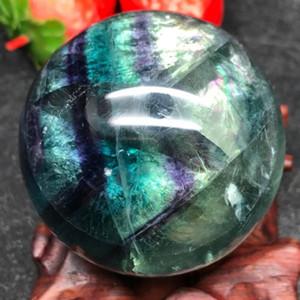 Circa 200g / Circa 50mm Natural Fluorite Quartz Crystal Sfera sfera di guarigione, regalo di Halloween, decorazione della casa