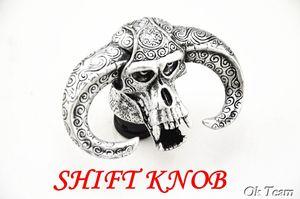 Envío gratis Universal Yak Cow / Cabeza de Buey Bull Wicked Skull Head Evil Stick Shift Knob Shifter Plata / Bronce