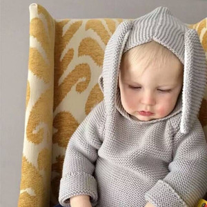 New Autumn Winter Cute Baby Sweater Rabbit Ears Hooded Knitted Tops Sweater Boys Girls Kids Knitwear Pullovers Children Clothing Gray Khaki