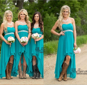 2020 Fashion Country Teal High Low Short Dama de honor vestidos Backless Sexy Beach Long Chiffon Prom Vestidos Plus Size Dama de honor vestido