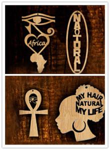 Wholesale- Spedizione gratuita! 5pairs / lot Nuovi orecchini di legno di africa ankh