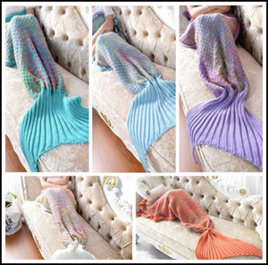 5 colores 180 * 80 cm Rainbow Mermaid Manta Patrón Crochet Mermaid Tail Blanket Adultos hilo de dormir de punto Mermaid Mantas CCA8365 5 unids