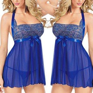 Commercio all'ingrosso- Sexy Lace Babydoll da notte per gli indumenti da notte Halter Nightgown Dress Nightwear + G-string