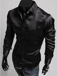 Camisas de vestir para hombre camisas para hombre slim fit camisas largas de seda brillante para hombres camisas de moda envío gratis
