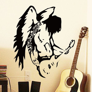 vinile wall art decorazione della casa a buon mercato vinile freddo angelo chitarra adesivo da parete rimovibile in PVC decorazione della casa decalcomanie della musica in bar e negozio