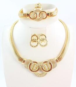 New Gold Plated Charming Modische Gute Qualität Braut Hochzeit Halsketten Armbänder Ohrringe Ringe Schmuck Sets