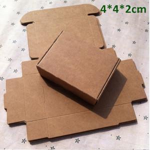 Kleine 4 * 4 * 2 cm Kraftpapier Box Geschenkbox für Schmuck Perle Süßigkeiten handgemachte Seife Backform Bäckerei Kuchen Cookies Schokolade Paket Verpackung Box