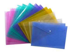 مجلدات بلاستيكية شفافة زر أرشفة حقيبة متعدد الألوان ماء ملف الجيب الايداع تخزين القرطاسية الطالب SN2649
