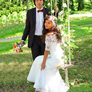 2016 Spring Mermaid Lace Wedding Dresses Bateau Vestidos De Noiva with Half Sleeves Lace-up Back Slim Abraic Abaya Plus Size Bridal Gown
