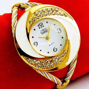 Strass Diamond Whirlwind Design Metal Weave Dress Wristwatches Women Girls Ladies Bracciale Bangle Orologi, muticolors