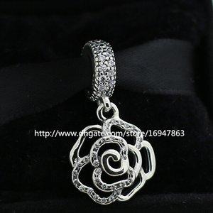 100% S925 Gümüş Pırıltılı Gül Dangle Charm Boncuk ile Temizle Cz Avrupa Pandora Takı Bilezikler Kolye Kolye Uyar