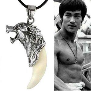 Мужчины античный серебристый племенной белый белый волк фанг зубов бого корейский кулон ожерелье свитер ожерелье как подарки любовника на день рождения ZJ16-N05